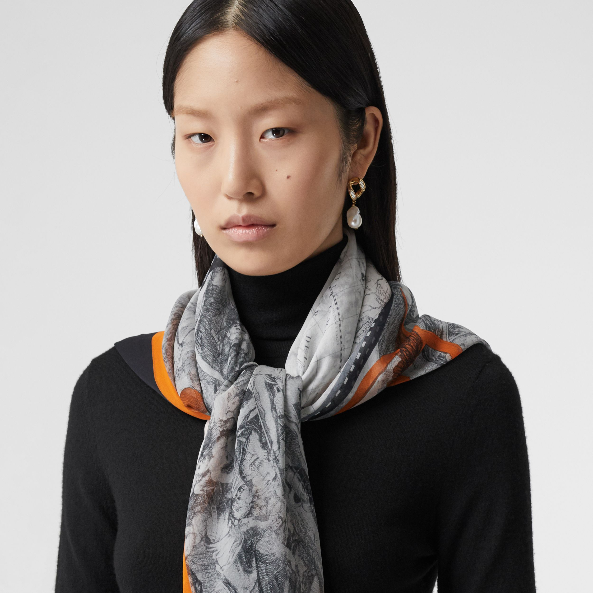 Map Print Silk Chiffon Scarf in Taupe Grey | Burberry - 3