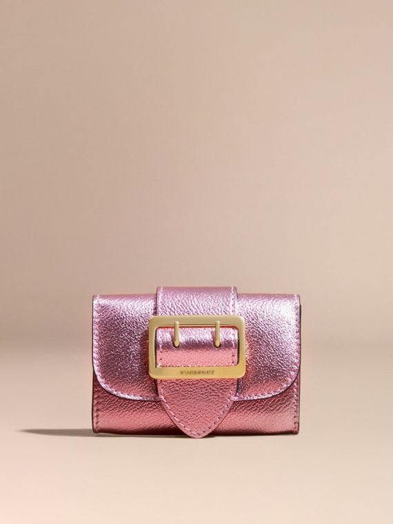 Metallic Leather Card Case in Pale Orchid - cell image 2