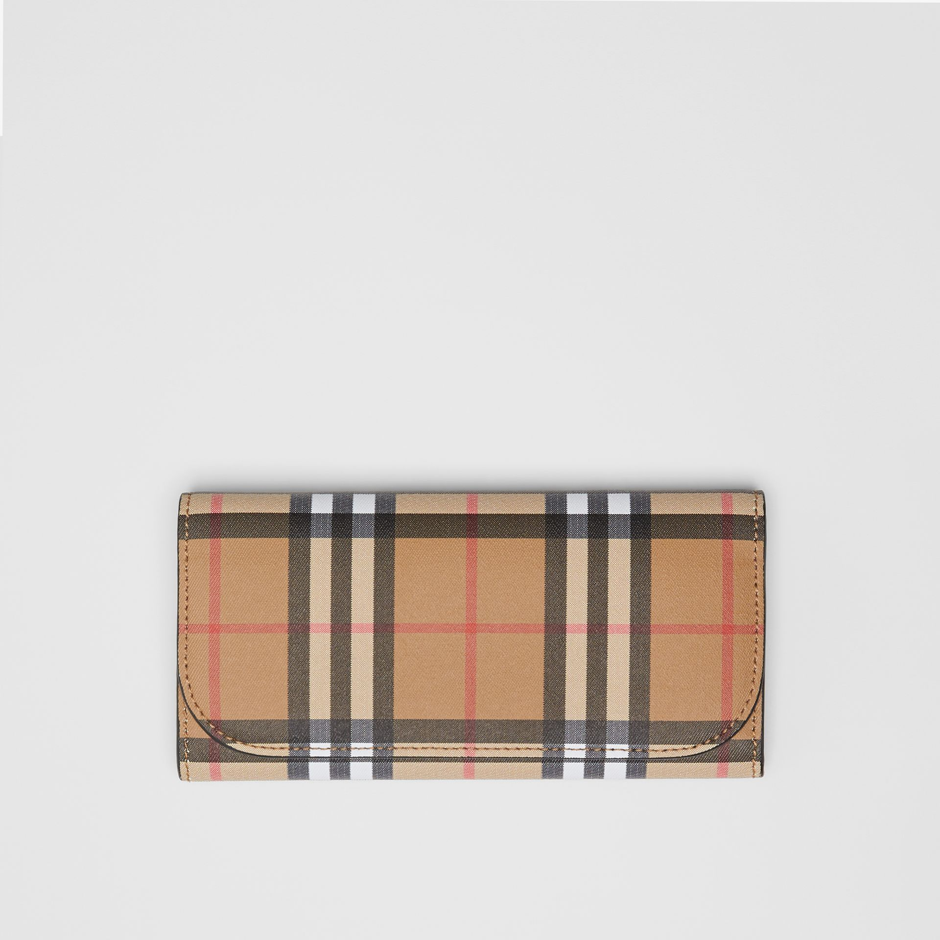 Vintage Check and Leather Continental Wallet in Black - Women | Burberry Australia - gallery image 0