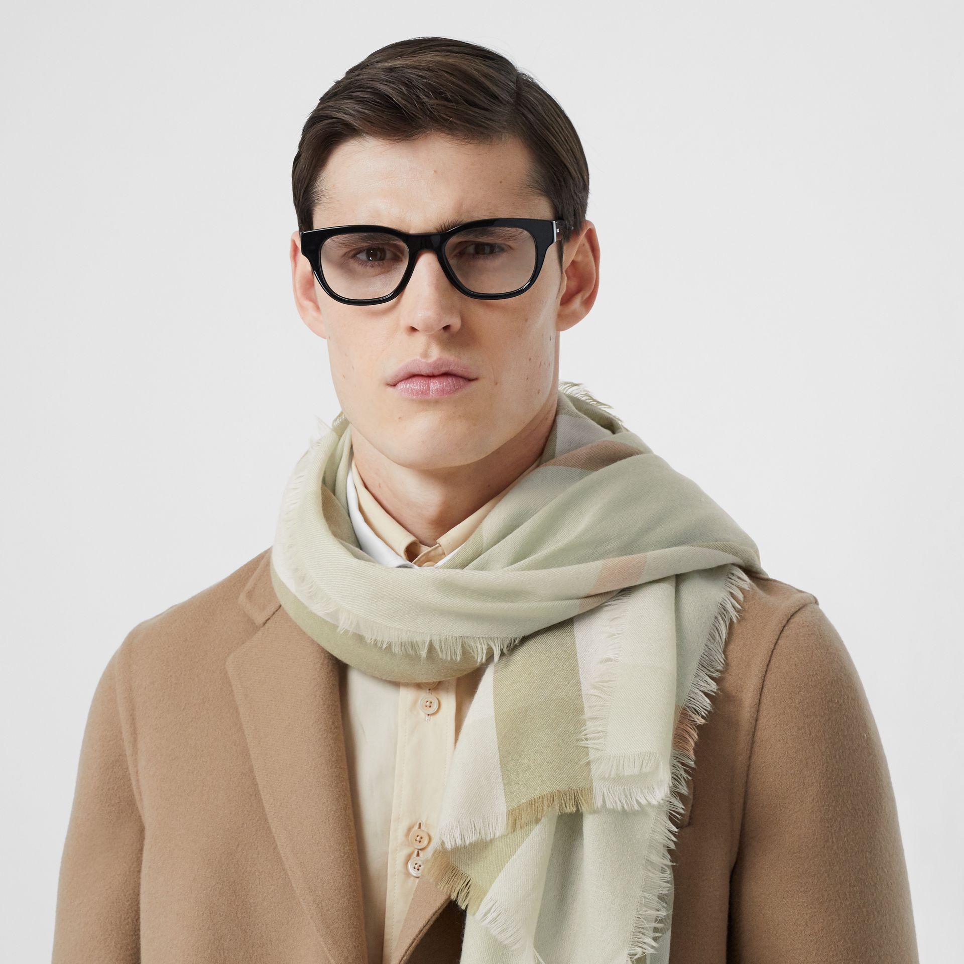 Lightweight Check Cashmere Scarf in Pale Apple Green   Burberry Australia - gallery image 3