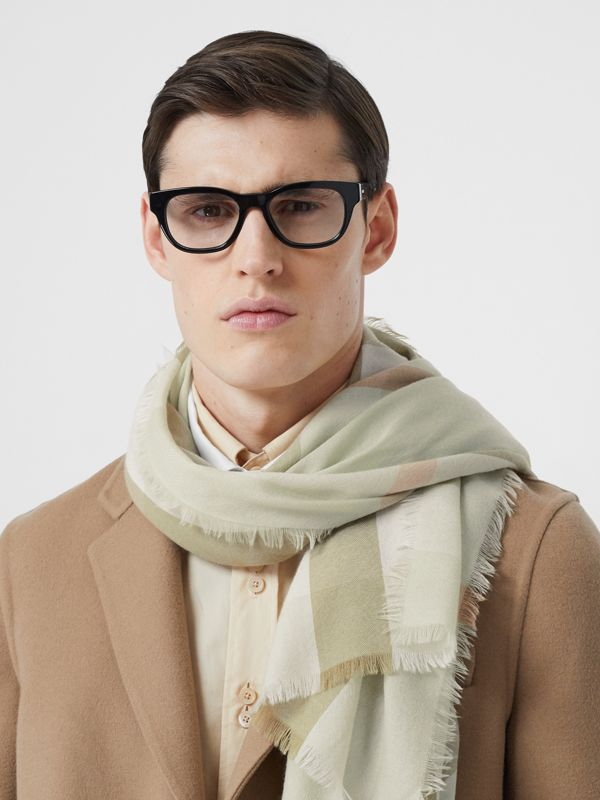 Lightweight Check Cashmere Scarf in Pale Apple Green   Burberry Australia - cell image 3
