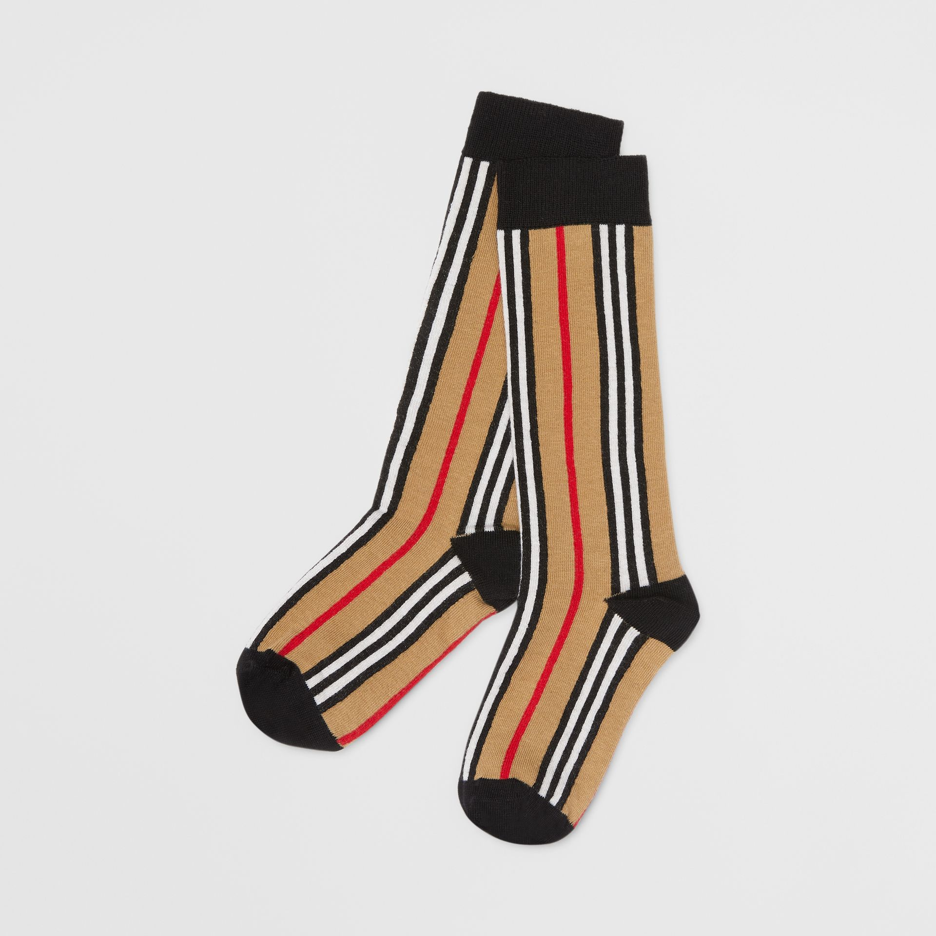 Icon Stripe Intarsia Cotton Blend Socks in Archive Beige - Children | Burberry - gallery image 0