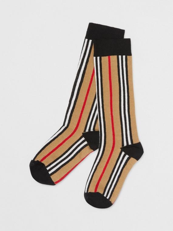 標誌性條紋嵌花棉質混紡襪 (典藏米色)