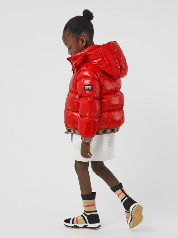 Icon Stripe Detail Down-filled Hooded Puffer Jacket in Bright Red | Burberry - cell image 2