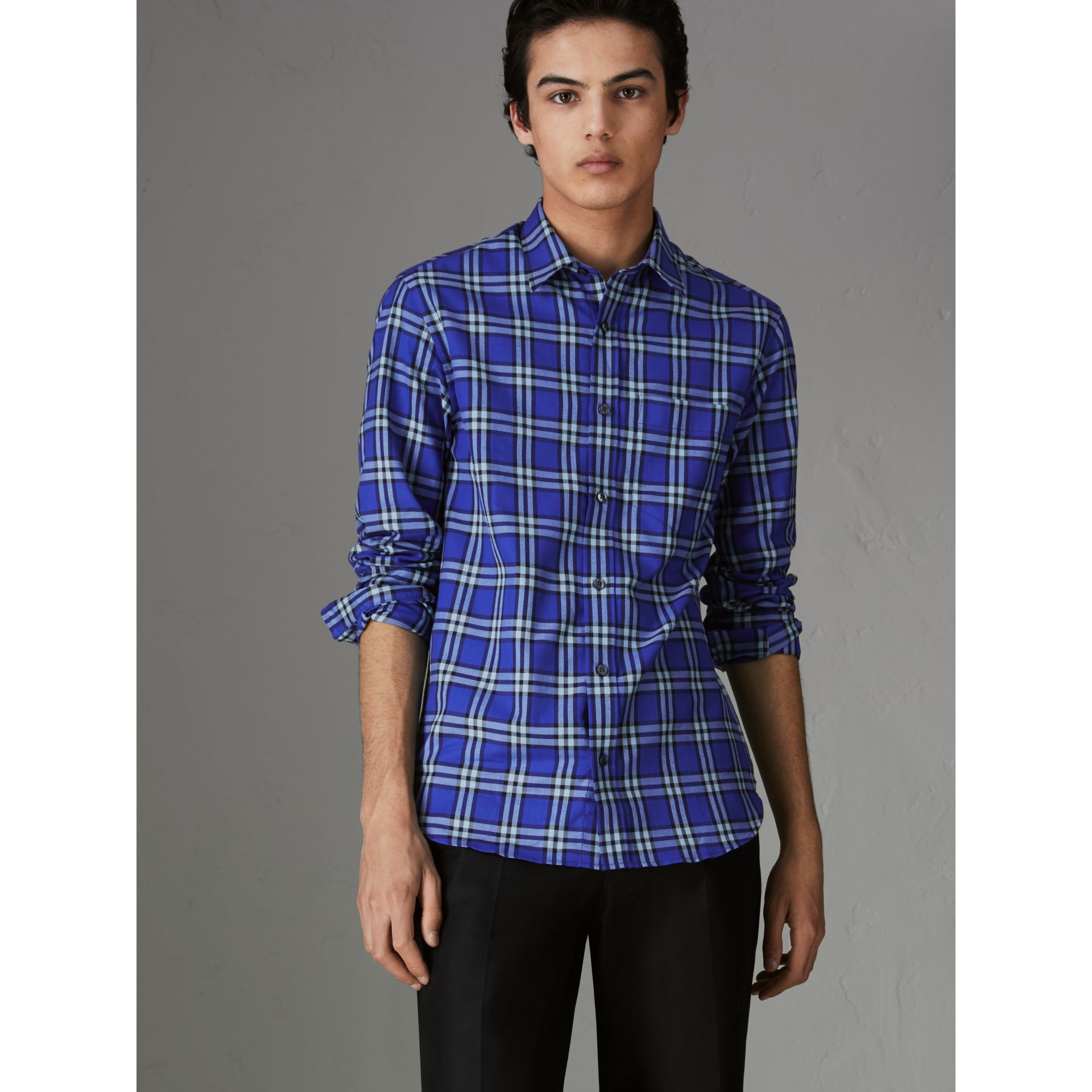 Check Cotton Shirt in Bright Lapis - Men | Burberry - gallery image 0