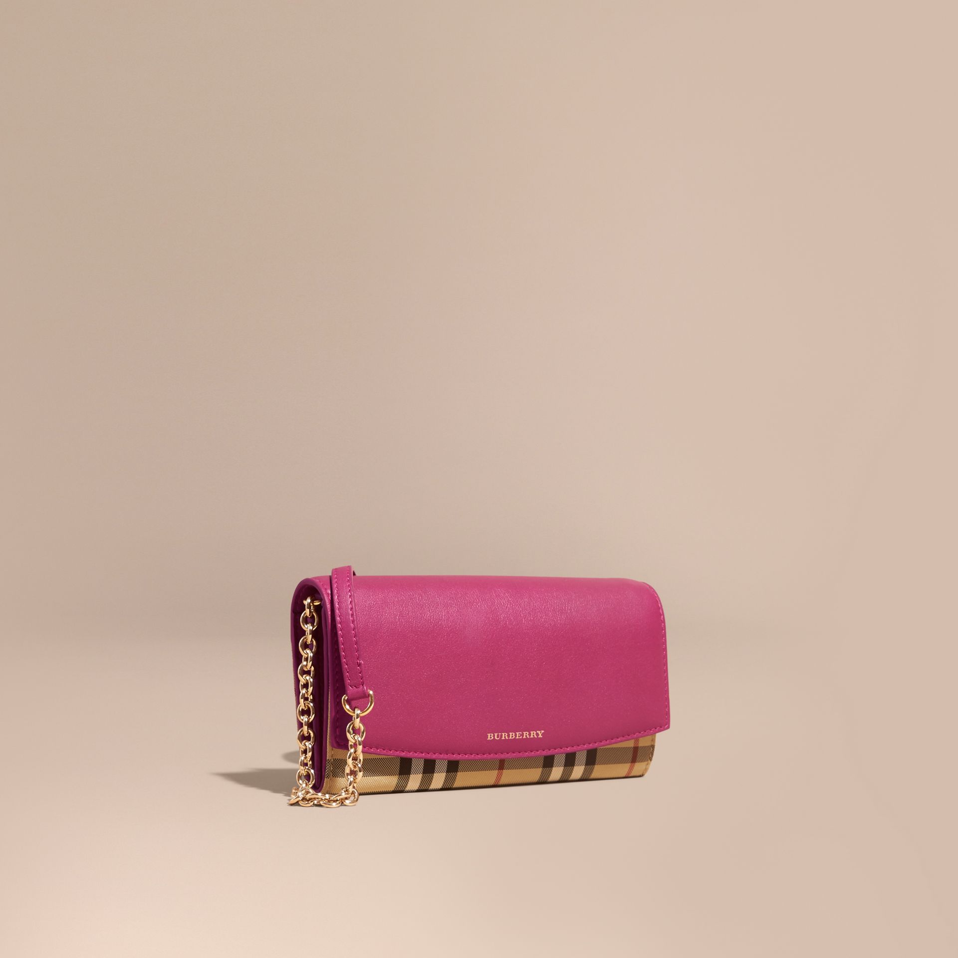 Horseferry Check and Leather Wallet with Chain Brilliant Fuchsia - gallery image 1