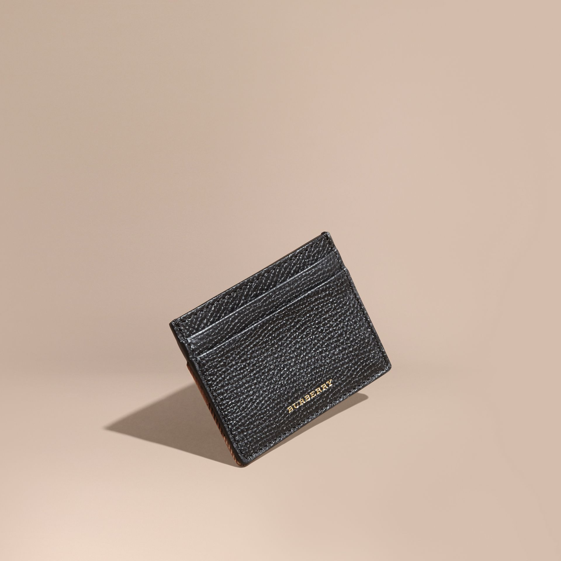 House Check and Grainy Leather Card Case in Black | Burberry - gallery image 1