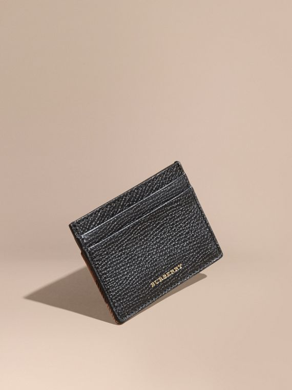 House Check and Grainy Leather Card Case in Black | Burberry