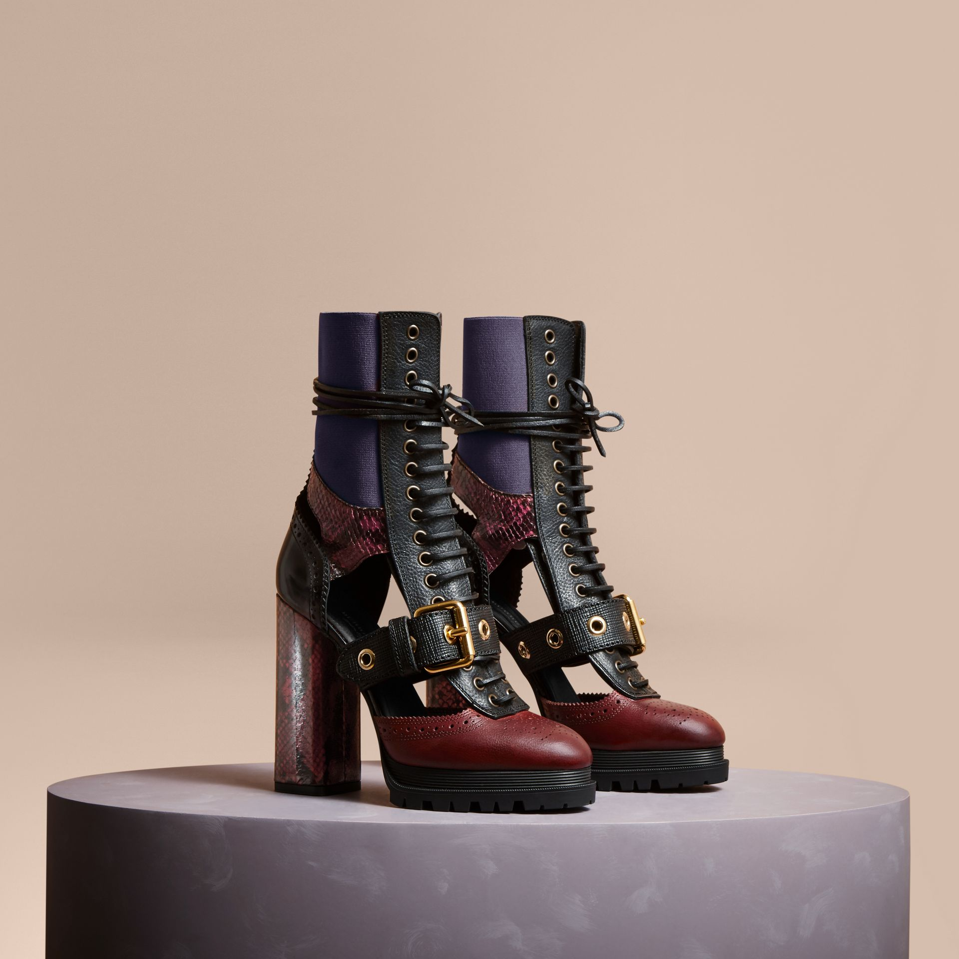 Leather and Snakeskin Cut-out Platform Boots Garnet Pink - gallery image 1