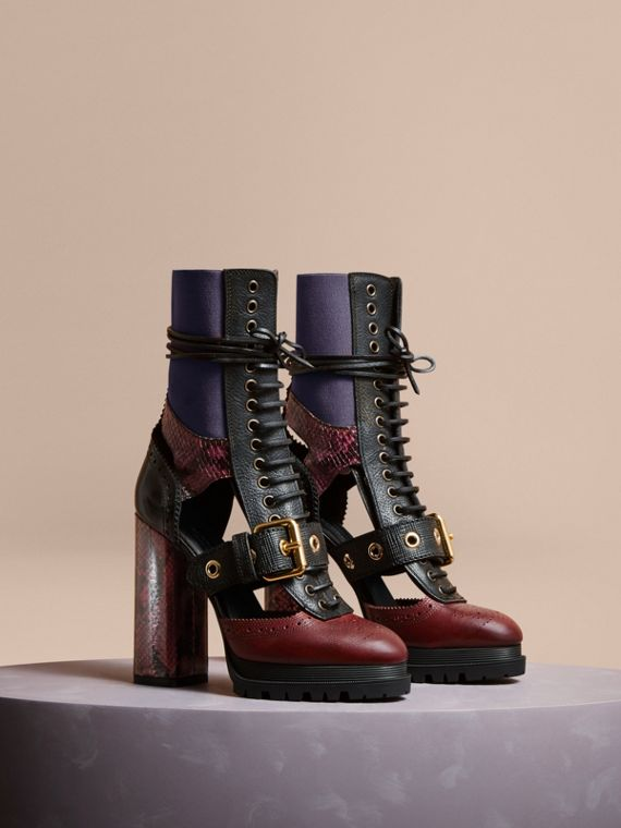Leather and Snakeskin Cut-out Platform Boots Garnet Pink