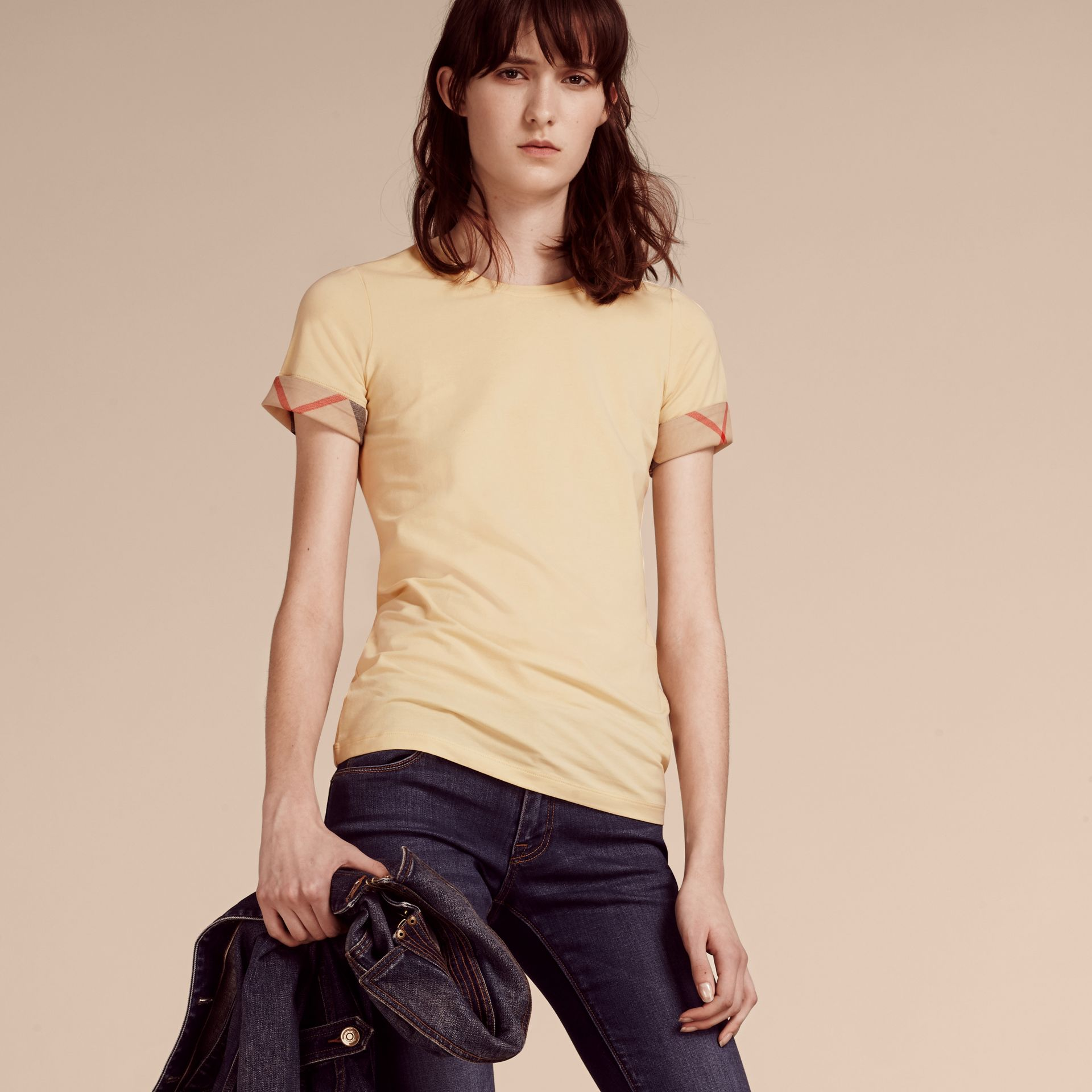 Pale lemon Check Trim Stretch Cotton T-shirt - gallery image 1