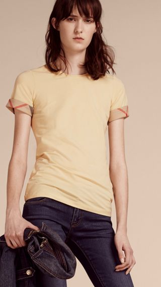 Check Trim Stretch Cotton T-shirt