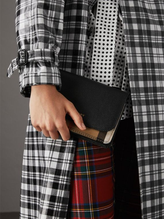 Leather and House Check Wallet with Detachable Strap in Black - Women | Burberry - cell image 3