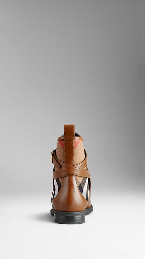 Chestnut House Check Leather Ankle Boots - Image 2