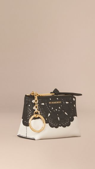 Laser-cut Lace Grainy Leather Coin Case