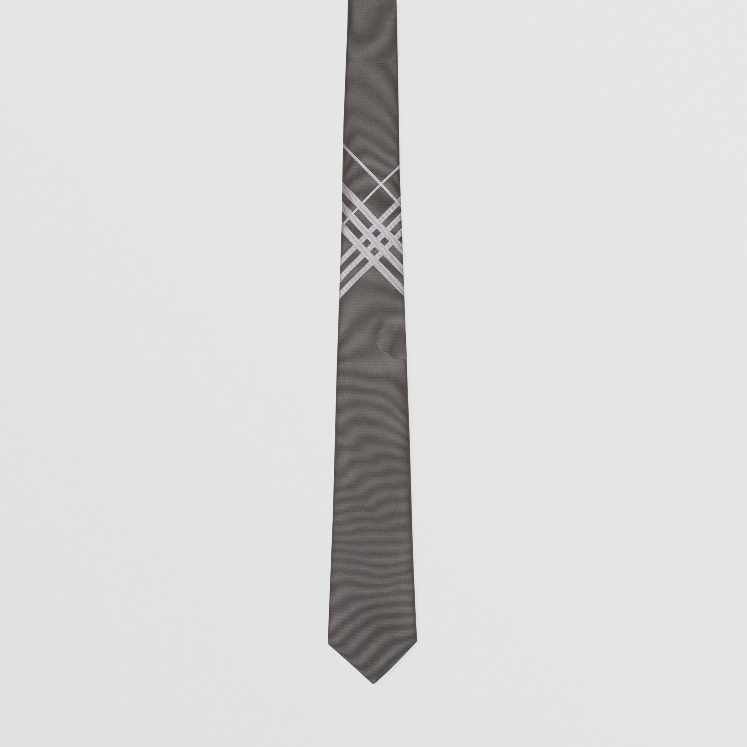 Classic Cut Check Silk Jacquard Tie in Dark Grey - Men | Burberry - 4