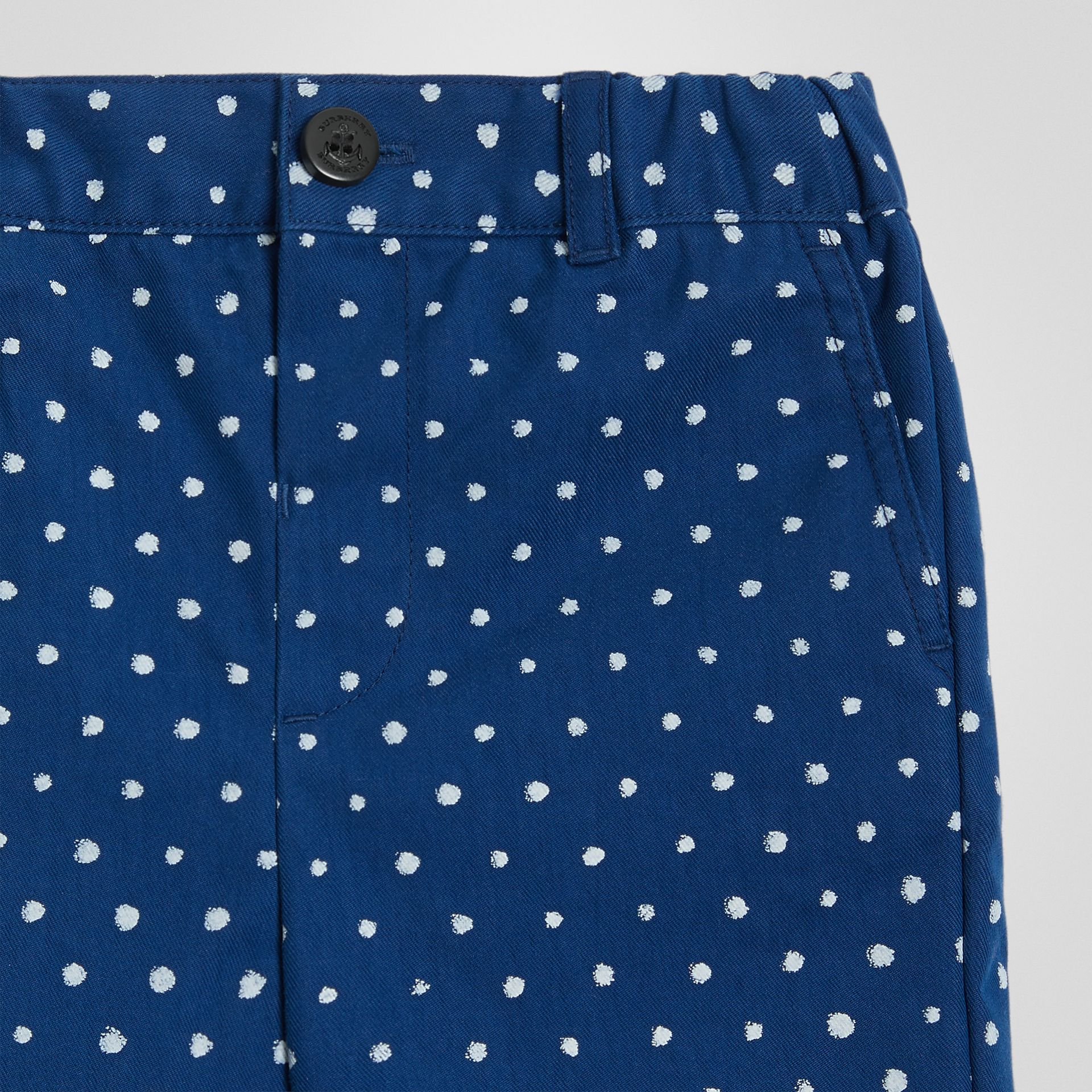 Spot Print Cotton Blend Shorts in Bright Navy - Children | Burberry - gallery image 4