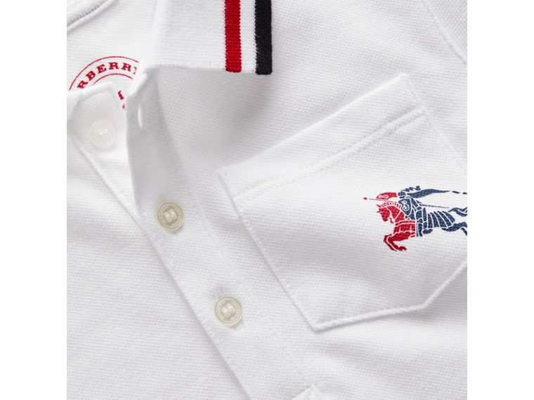 Stripe Detail Cotton Piqué Polo Shirt in White | Burberry - cell image 1