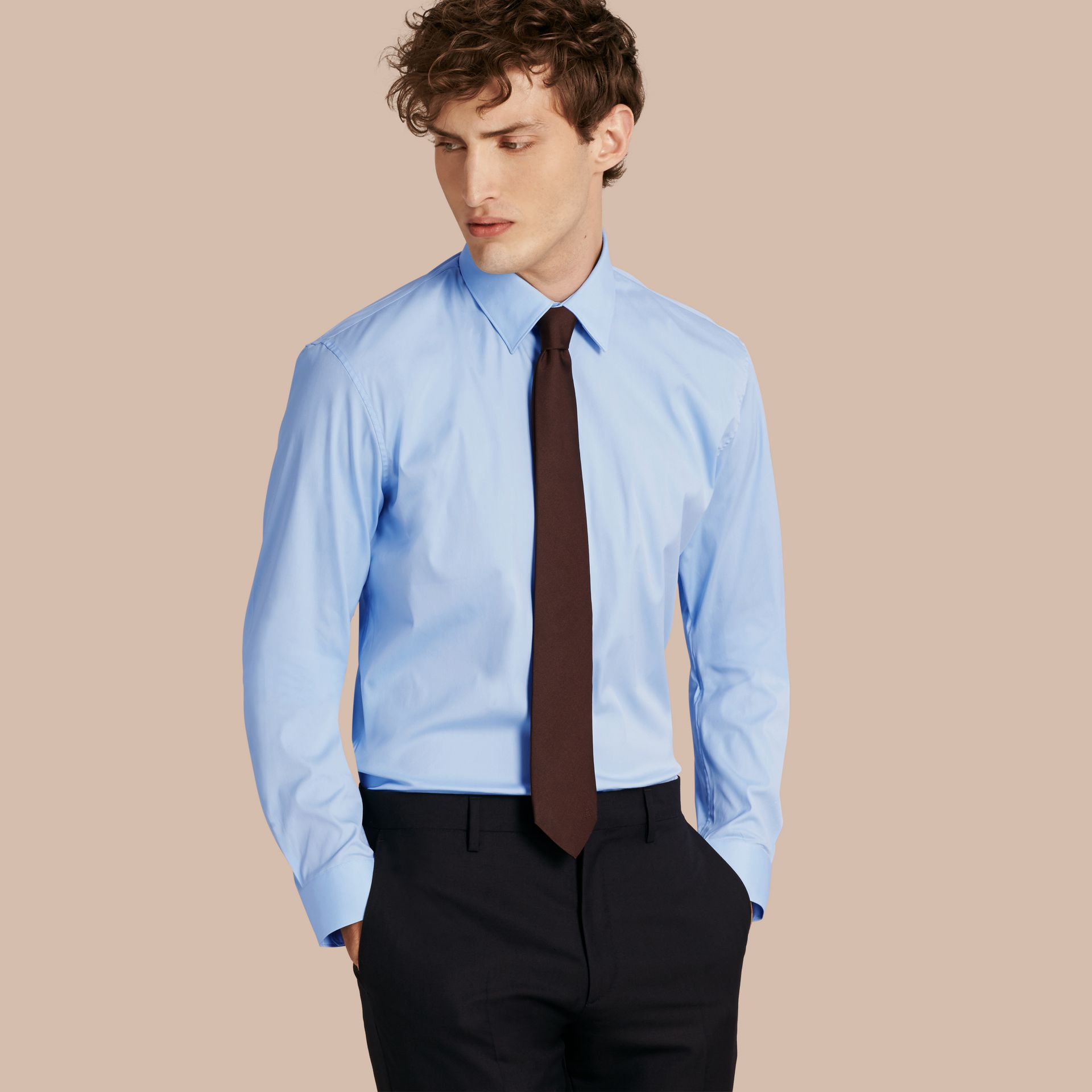 Modern Fit Stretch Cotton Shirt in City Blue - gallery image 1
