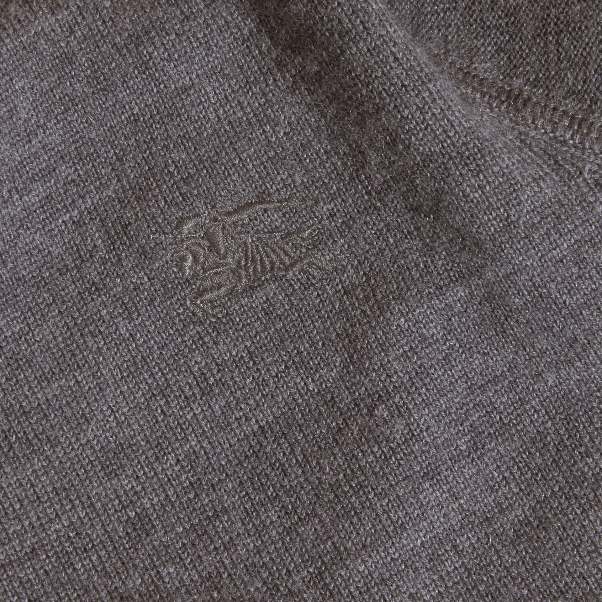 Check Elbow Patch Merino Wool Sweater in Mid Grey Melange | Burberry - gallery image 2