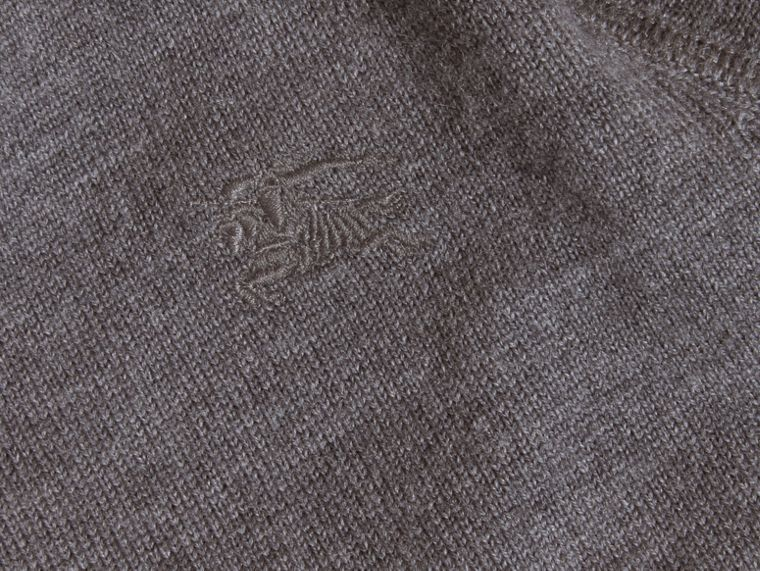 Check Elbow Patch Merino Wool Sweater in Mid Grey Melange | Burberry - cell image 1