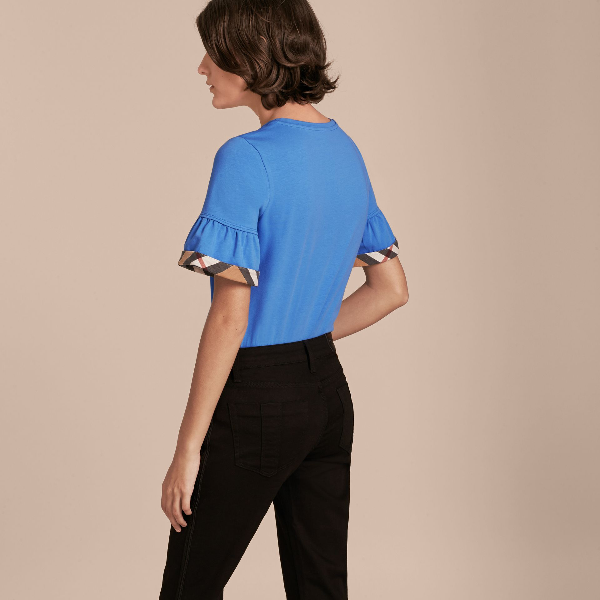 Stretch Cotton T-shirt with Check Trim Ruffles Bright Hydrangea Blue - gallery image 3