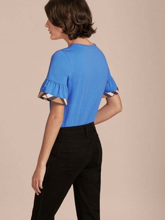 Stretch Cotton T-shirt with Check Trim Ruffles Bright Hydrangea Blue - cell image 2