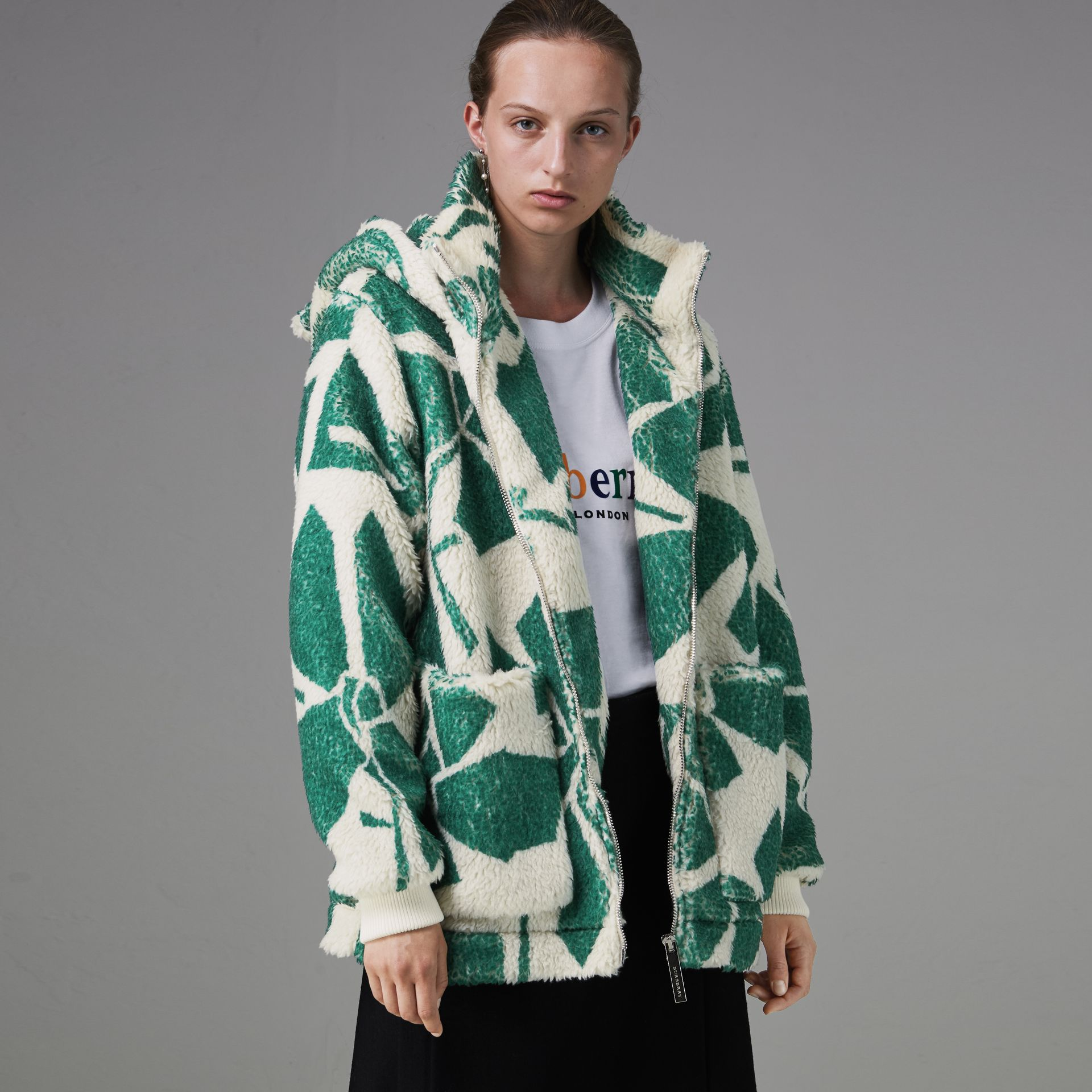 Floral Print Cashmere-silk Fleece Zipped Hoodie in Forest Green - Women | Burberry - gallery image 4