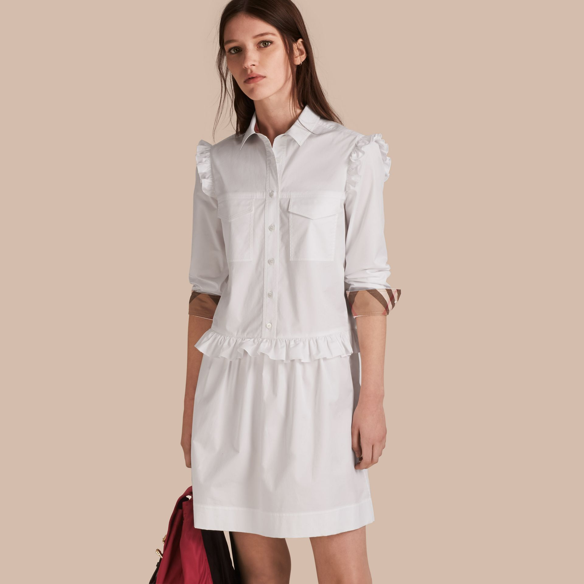 Ruffle and Check Detail Cotton Shirt Dress White - gallery image 1