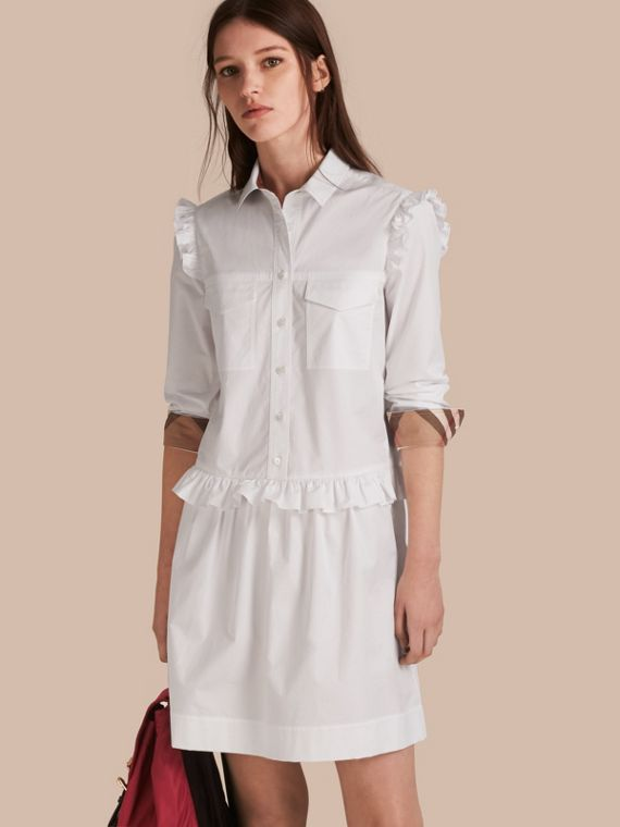 Ruffle and Check Detail Cotton Shirt Dress White