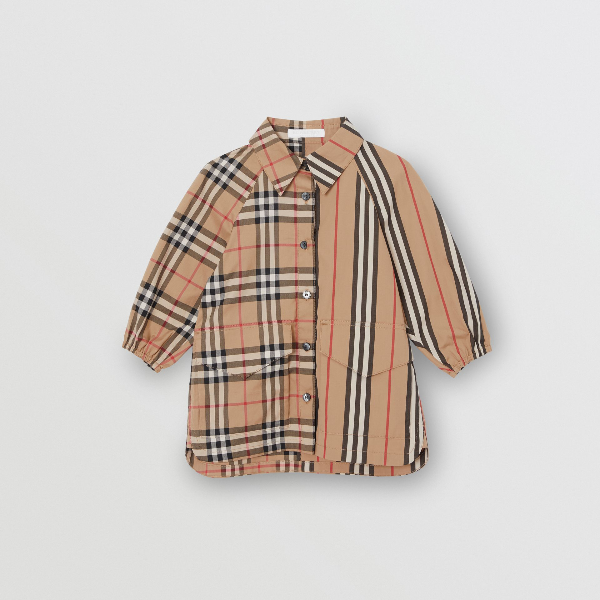Vintage Check and Icon Stripe Cotton Shirt Dress in Archive Beige - Children | Burberry - gallery image 0