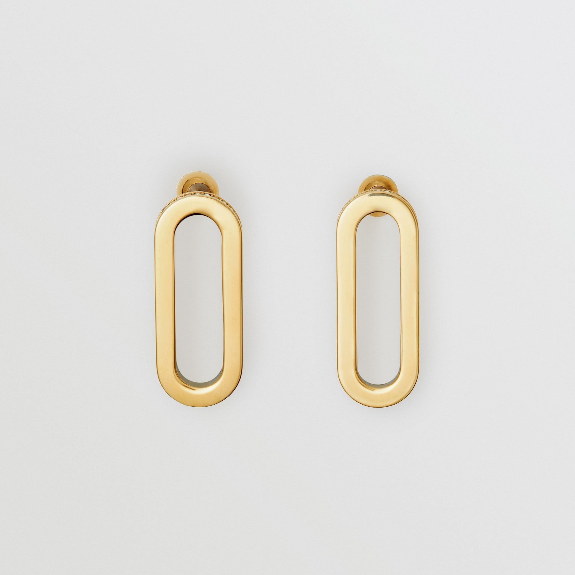 Crystal Gold-plated Link Earrings in Light Gold/crystal - Women | Burberry - gallery image 0