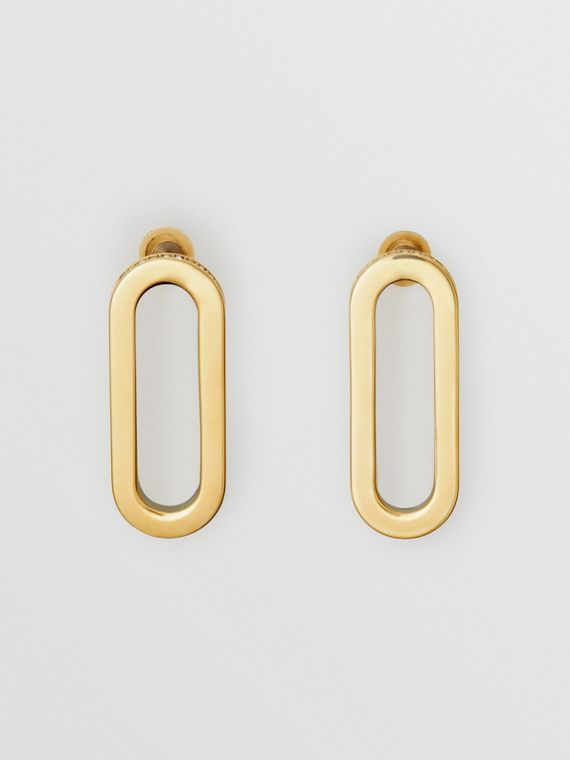 Crystal Gold-plated Link Earrings in Light Gold/crystal