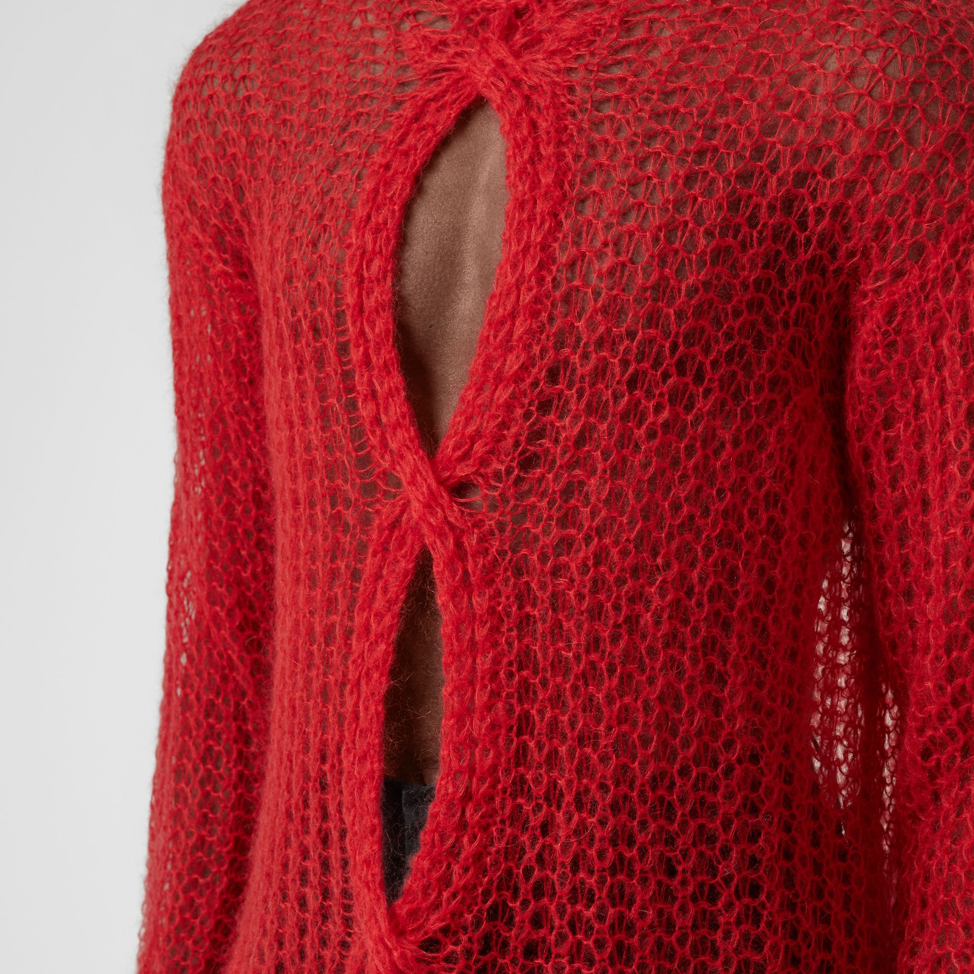 Open Knit Mohair Wool Blend Sweater in Bright Red | Burberry - gallery image 4
