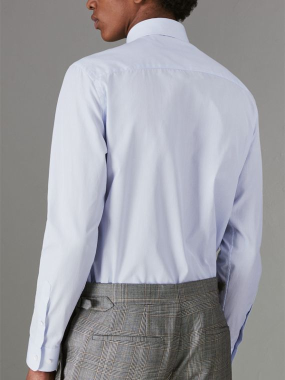 Slim Fit Striped Cotton Poplin Shirt in City Blue - Men | Burberry Australia - cell image 2