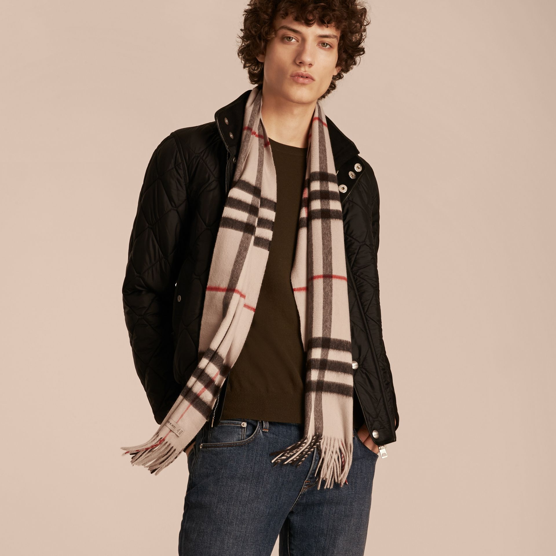 The Classic Cashmere Scarf in Check in Stone - gallery image 4