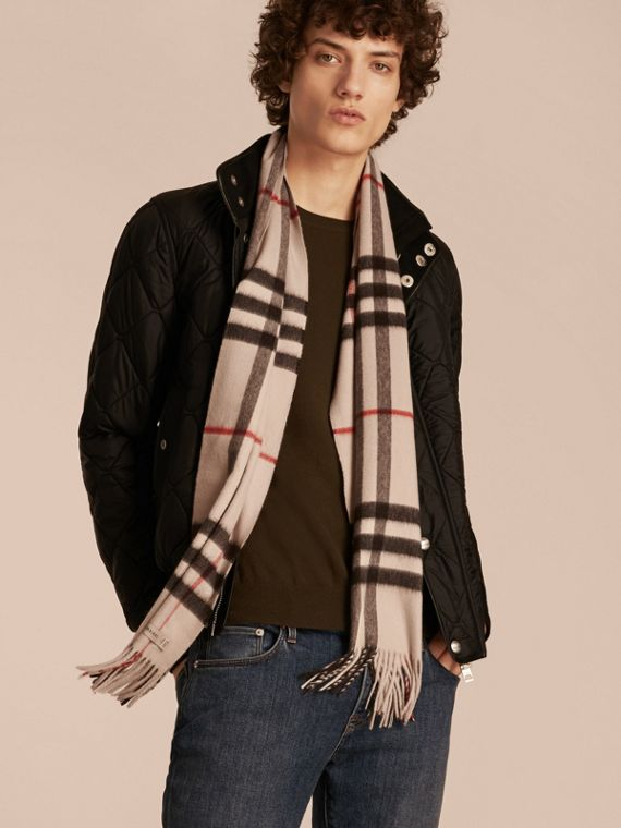 The Classic Cashmere Scarf in Check in Stone - cell image 3