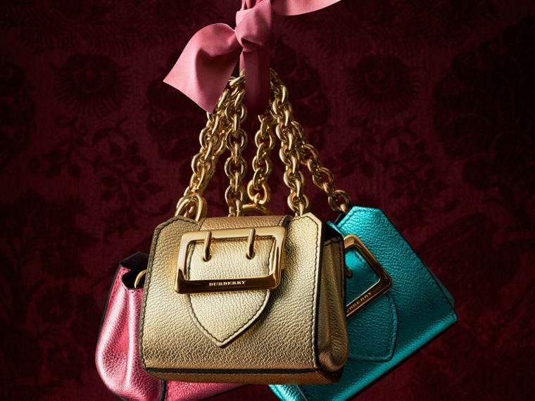 Gold The Mini Buckle Tote Charm in Metallic Leather Gold - cell image 4