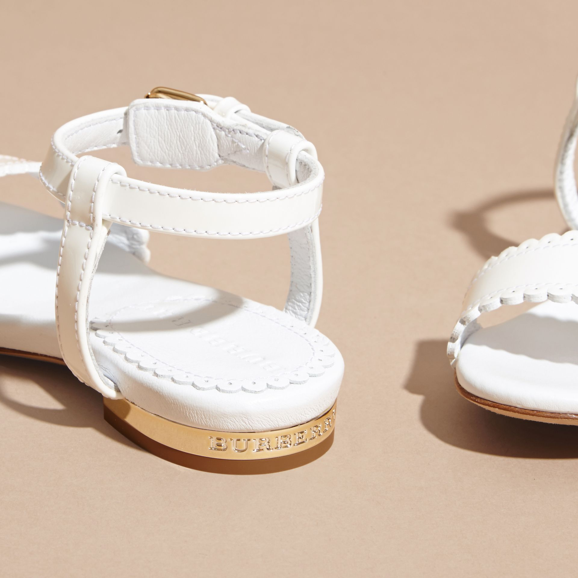Scallop Trim Leather Sandals - gallery image 4