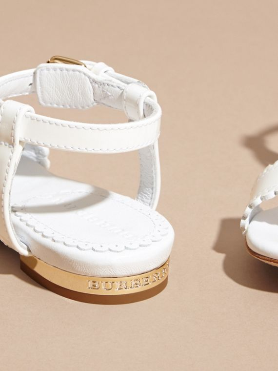 Scallop Trim Leather Sandals - cell image 3