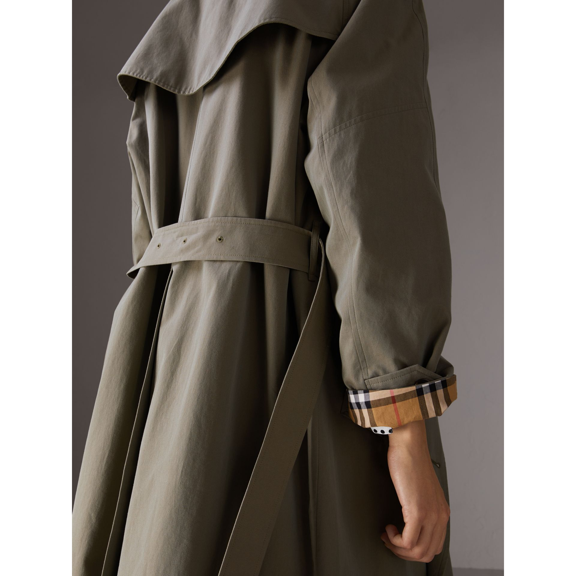 Tropical Gabardine Asymmetric Trench Coat in Chalk Green - Women | Burberry - gallery image 5