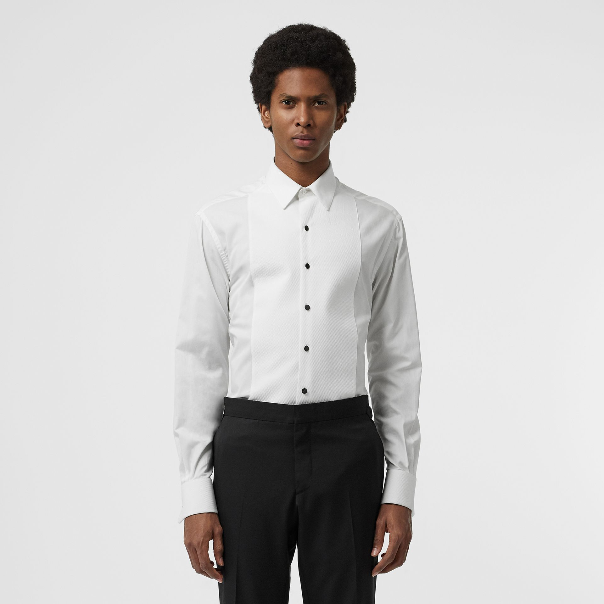 Modern Fit Panelled Bib Cotton Twill Evening Shirt in White - Men | Burberry - gallery image 0