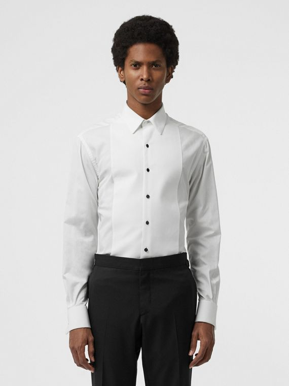 Modern Fit Panelled Bib Cotton Twill Evening Shirt in White
