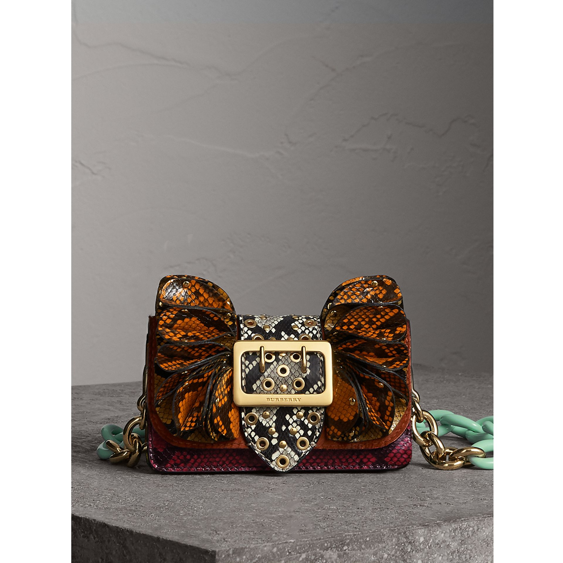 The Ruffle Buckle Bag in Snakeskin and Calfskin in Redwood - Women | Burberry - gallery image 1
