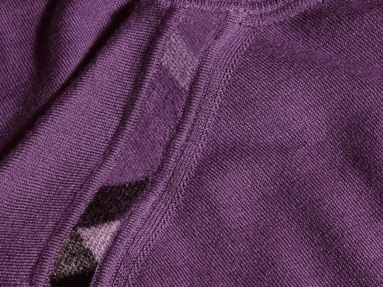 Dusty lilac Lightweight Crew Neck Cashmere Sweater with Check Trim Dusty Lilac - cell image 1