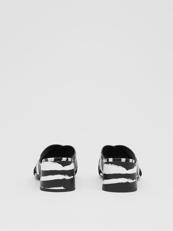 Watercolour Print Leather Block-heel Sandals in Black/white - Women | Burberry United States - cell image 3