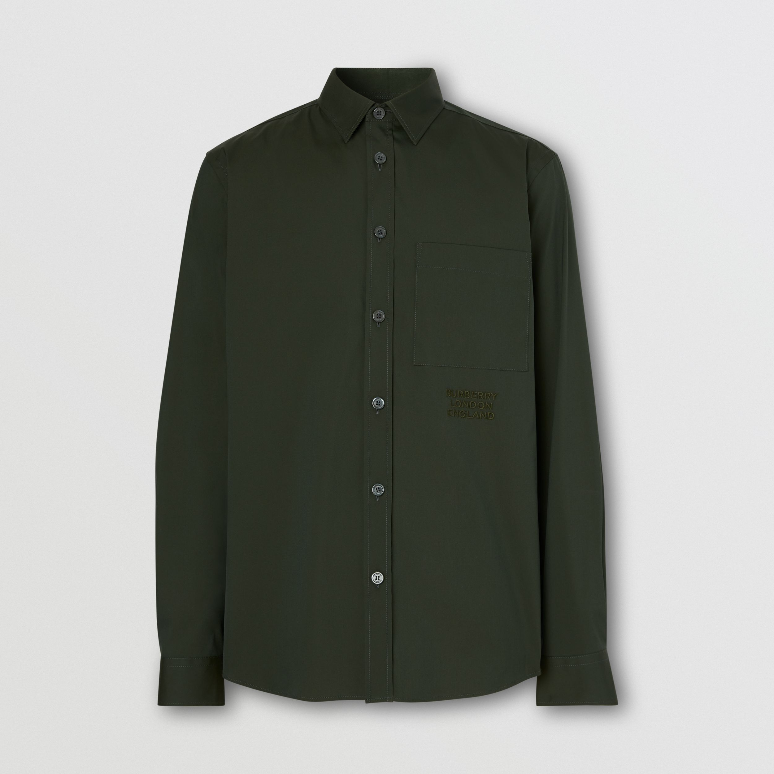 Embroidered Logo Cotton Blend Shirt in Forest Green - Men | Burberry Australia - 4