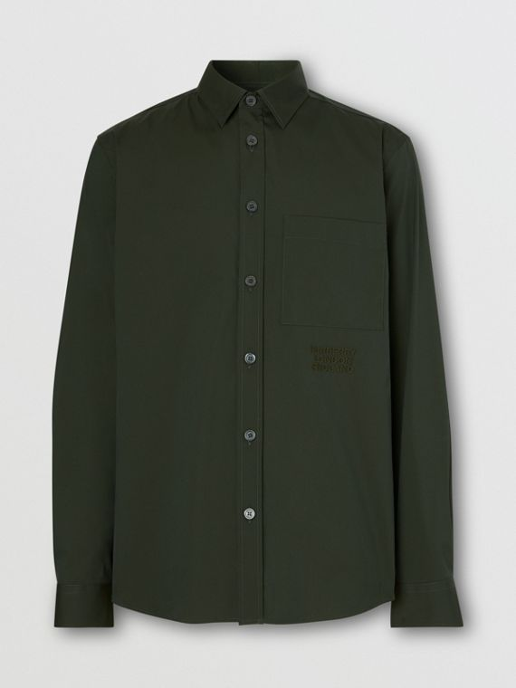 Embroidered Logo Cotton Blend Shirt in Forest Green