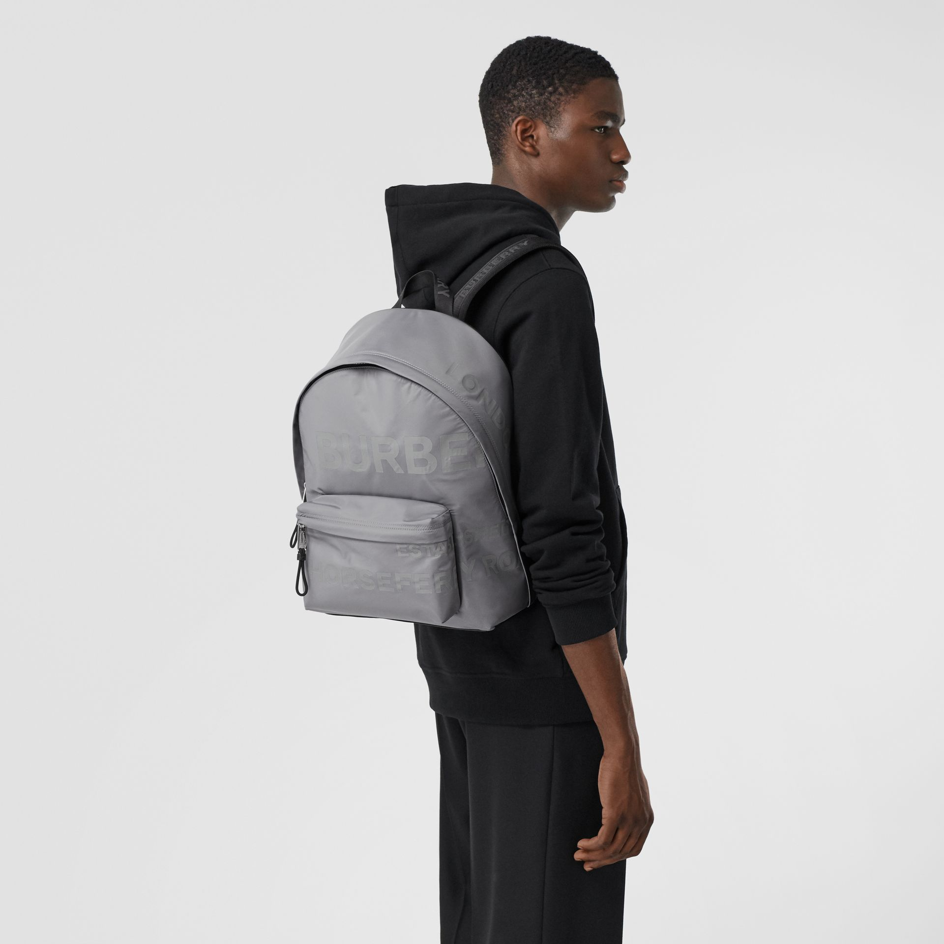 Horseferry Print ECONYL® Backpack in Cloud Grey | Burberry - gallery image 3