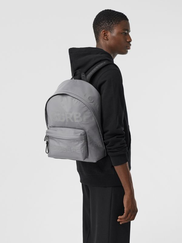 Horseferry Print ECONYL® Backpack in Cloud Grey | Burberry - cell image 3